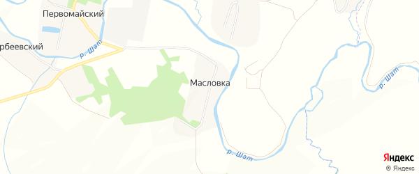 Карта деревни Масловки в Тульской области с улицами и номерами домов