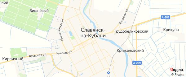 Карта Славянска-на-Кубани с районами, улицами и номерами домов