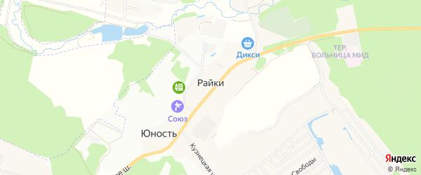 Сад Воря-1 СНТ на карте деревни Райки Московской области с номерами домов