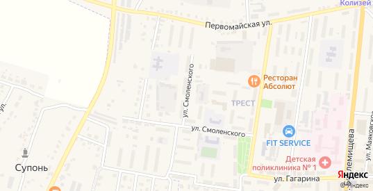 Улица Смоленского в Узловой с номерами домов на карте. Спутник и схема онлайн