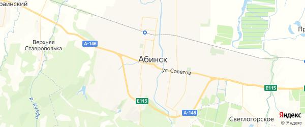 Карта Абинска с районами, улицами и номерами домов