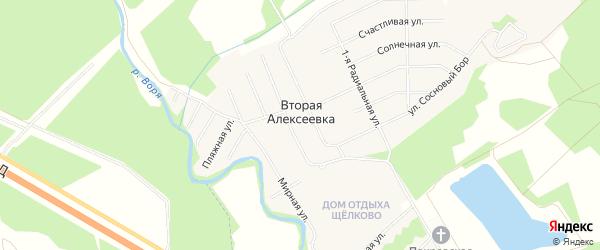 Карта деревни Второй Алексеевки в Московской области с улицами и номерами домов
