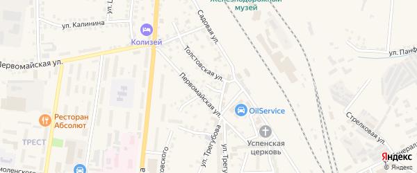 Толстовский переулок на карте Узловой с номерами домов