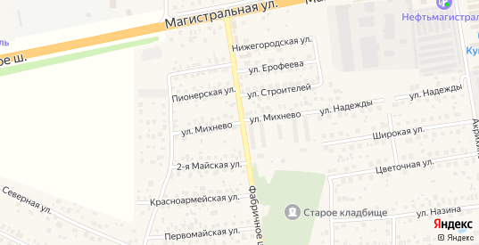 Улица Михнево в Старой Купавне с номерами домов на карте. Спутник и схема онлайн