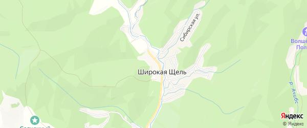 Карта хутора Широкой Щели города Геленджика в Краснодарском крае с улицами и номерами домов