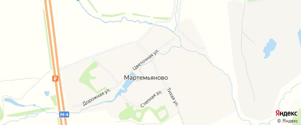 Карта села Мартемьяново в Тульской области с улицами и номерами домов