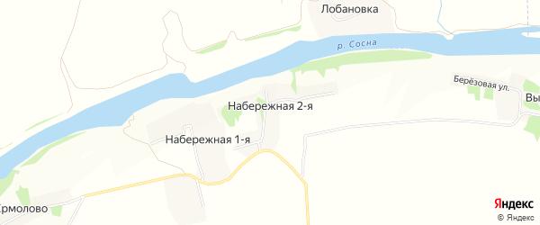 Карта Набережная 2-я деревни в Липецкой области с улицами и номерами домов