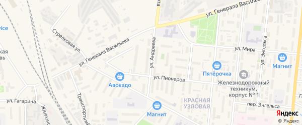 Улица Андреева на карте Узловой с номерами домов