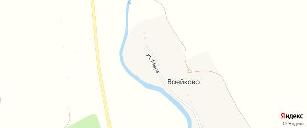 Улица Мира на карте деревни Воейково Тульской области с номерами домов