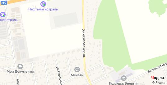 Химбазовское шоссе в Старой Купавне с номерами домов на карте. Спутник и схема онлайн