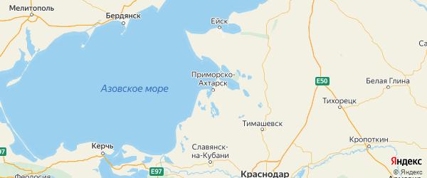 Карта Приморско-ахтарского района Краснодарского края с городами и населенными пунктами