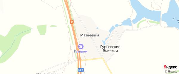 Карта деревни Матвеевки в Тульской области с улицами и номерами домов