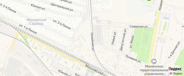 Линейная улица на карте поселка Монино с номерами домов