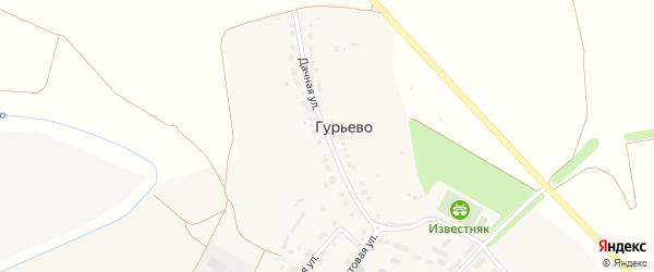 Дачная улица на карте деревни Гурьево Тульской области с номерами домов