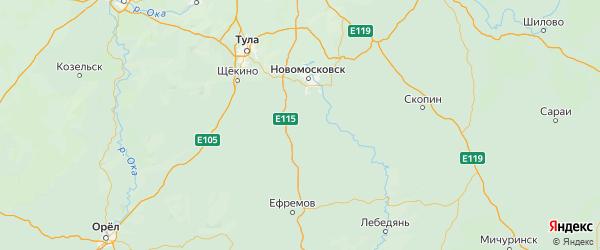 Карта Богородицкого района Тульской области с городами и населенными пунктами