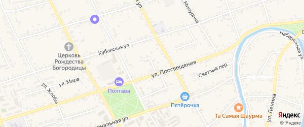 Славянский переулок на карте Полтавской станицы Краснодарского края с номерами домов