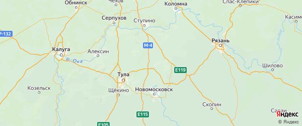 Карта Веневского района Тульской области с городами и населенными пунктами