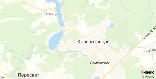 Карта Краснозаводска с улицами и домами подробная. Показать со спутника номера домов онлайн