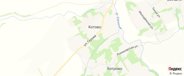 Карта деревни Котово в Липецкой области с улицами и номерами домов