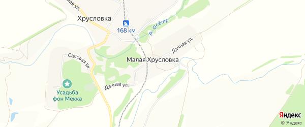 Карта деревни Малой Хрусловки в Тульской области с улицами и номерами домов