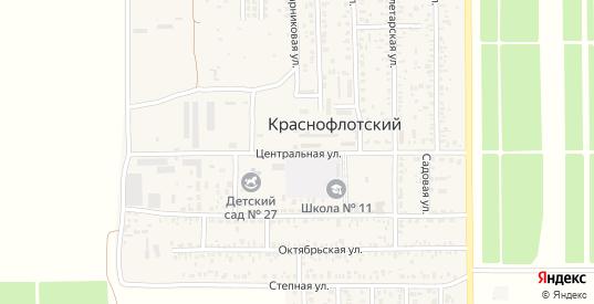 Центральная улица в поселке Краснофлотский в Ейске с номерами домов на карте. Спутник и схема онлайн