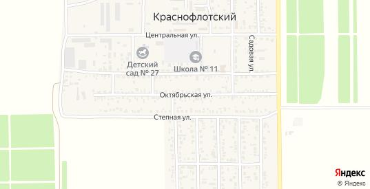 Октябрьская улица в поселке Краснофлотский в Ейске с номерами домов на карте. Спутник и схема онлайн