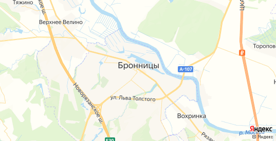 Карта Бронниц с улицами и домами подробная. Показать со спутника номера домов онлайн