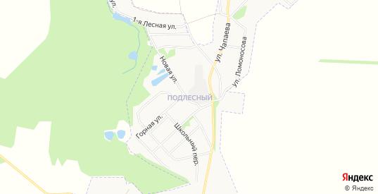 Карта микрорайона Подлесный в Донском с улицами, домами и почтовыми отделениями со спутника онлайн