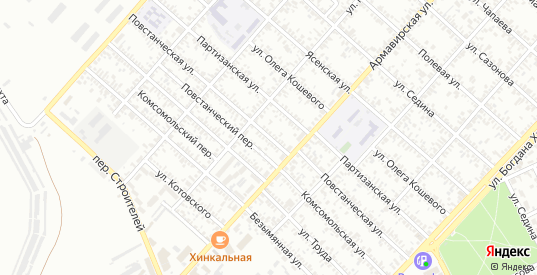 Повстанческая улица в Ейске с номерами домов на карте. Спутник и схема онлайн