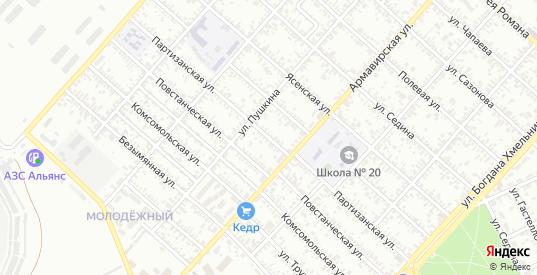 Партизанская улица в Ейске с номерами домов на карте. Спутник и схема онлайн