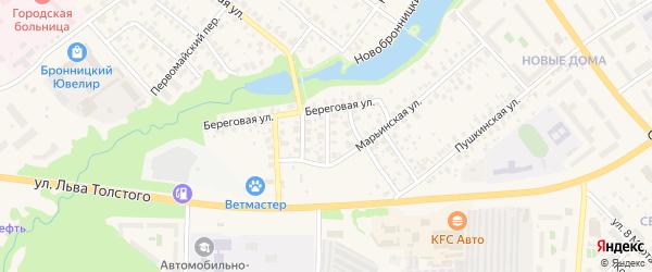 Береговой переулок на карте Бронниц с номерами домов