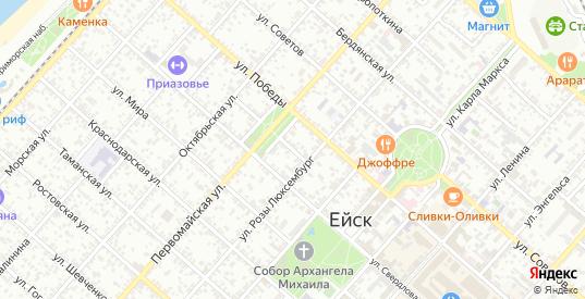 Октябрьский переулок в Ейске с номерами домов на карте. Спутник и схема онлайн