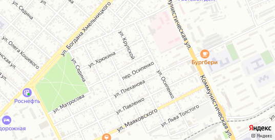 Переулок Осипенко в Ейске с номерами домов на карте. Спутник и схема онлайн