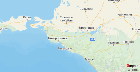 Карта Абинского района Краснодарского края с городами и населенными пунктами