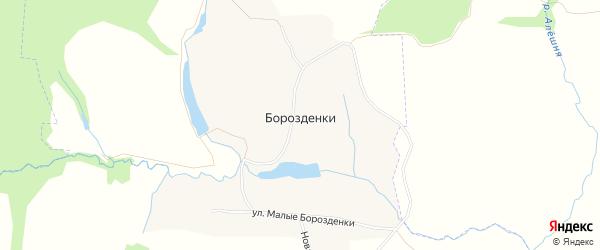 Карта деревни Борозденки в Тульской области с улицами и номерами домов