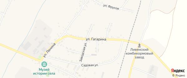 Улица Гагарина на карте села Ливенки Белгородской области с номерами домов