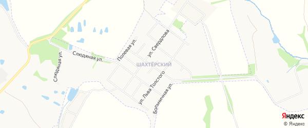 Карта Шахтерского микрорайона города Донского в Тульской области с улицами и номерами домов