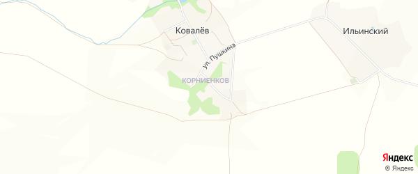 Карта хутора Ковалева в Белгородской области с улицами и номерами домов