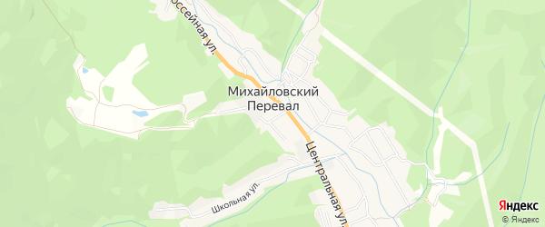 Карта села Михайловского Перевала города Геленджика в Краснодарском крае с улицами и номерами домов