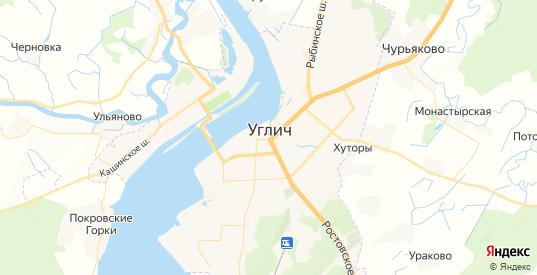 Карта Углича с улицами и домами подробная. Показать со спутника номера домов онлайн