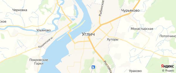 Карта Углича с районами, улицами и номерами домов