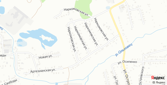 Наркомовская улица в микрорайоне Новоугольный в Донском с номерами домов на карте. Спутник и схема онлайн