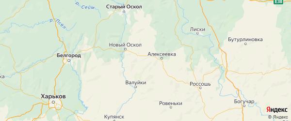 Карта Красногвардейского района Белгородской области с городами и населенными пунктами