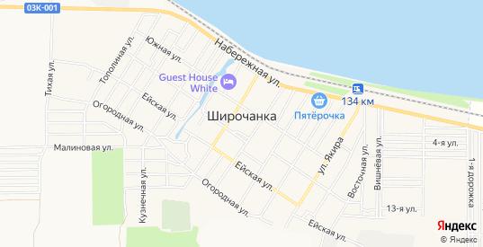 Карта поселка Широчанка в Ейске с улицами, домами и почтовыми отделениями со спутника онлайн