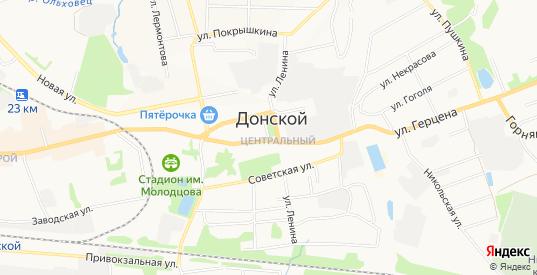 Карта микрорайона Центральный в Донском с улицами, домами и почтовыми отделениями со спутника онлайн