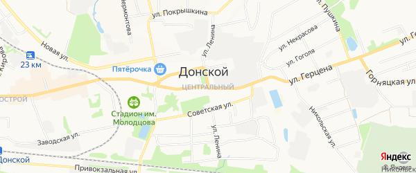 Карта Центрального микрорайона города Донского в Тульской области с улицами и номерами домов