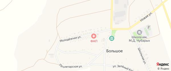 Молодежная улица на карте Большого села Белгородской области с номерами домов