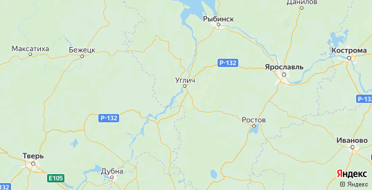 Карта Угличского района Ярославская области с городами и населенными пунктами