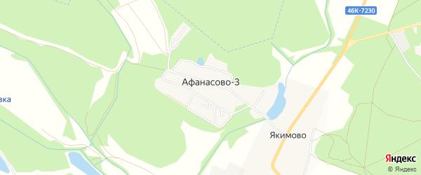 Карта деревни Афанасово-3 города Черноголовки в Московской области с улицами и номерами домов