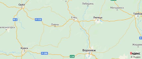 Карта Долгоруковского района Липецкой области с городами и населенными пунктами